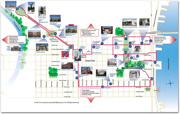 philadelphia walking tour map The Constitutional Bus Tour Of Philadelphia Step On Guide philadelphia walking tour map